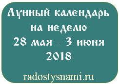Лунный календарь на неделю 28 мая – 3 июня 2018